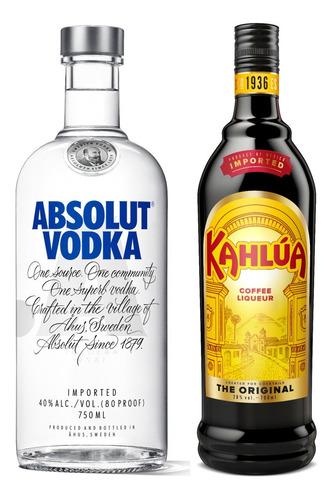 Kit Licor De Café Kahlúa 750ml + Vodka Absolut Regular 750ml