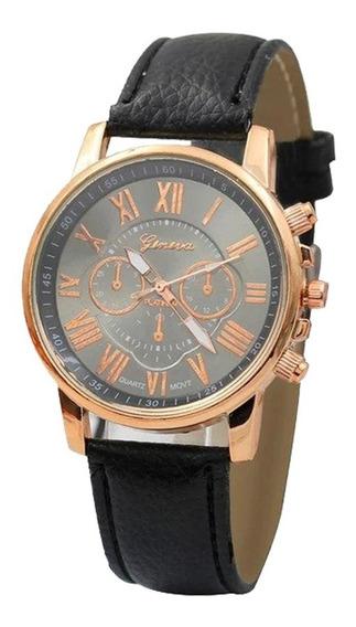 Relógio Feminino Pulseira Couro Moda Geneva #pr