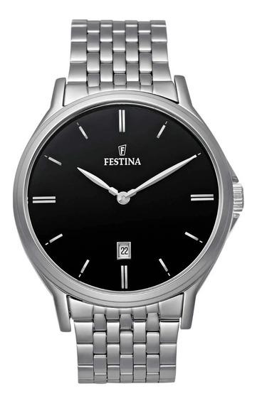 Relógio Festina Masculino Clássico Aço Fundo Preto- F16744/4