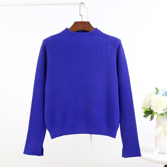 Suéter De Punto Para Mujer, De Cuello Alto, Hendidura, Larga