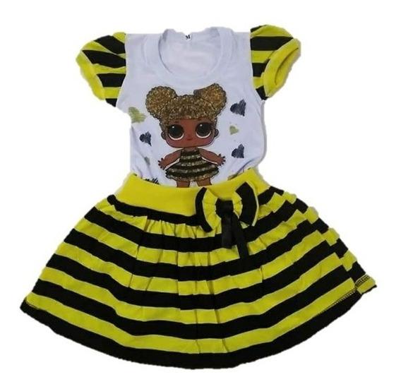 Vestido Infantil Boneca Lol Queen Bee Abelha Roupa/fantasia
