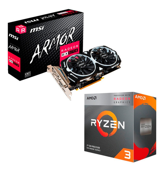Combo Placa Video Radeon Rx 570 4gb + Ryzen 3 3200g Mexx 3