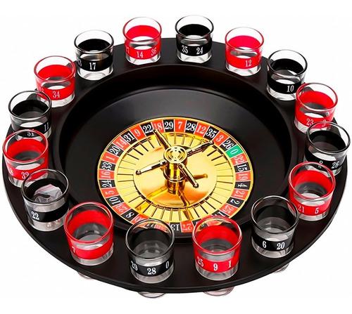 Imagem 1 de 6 de Jogo Cassino De Bebidas Drink Roleta Com 16 Copos De Vidro