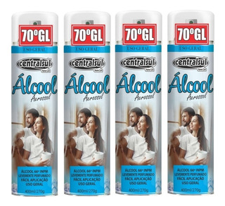 4 Alcool 70% Para Limpeza Geral Em Spray Aerossol 400ml
