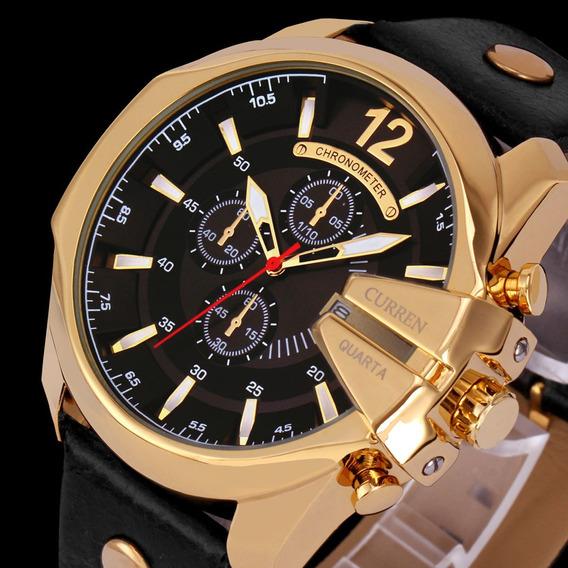 Relógio Curren Masculino 8176 Pulseira Couro Promoção