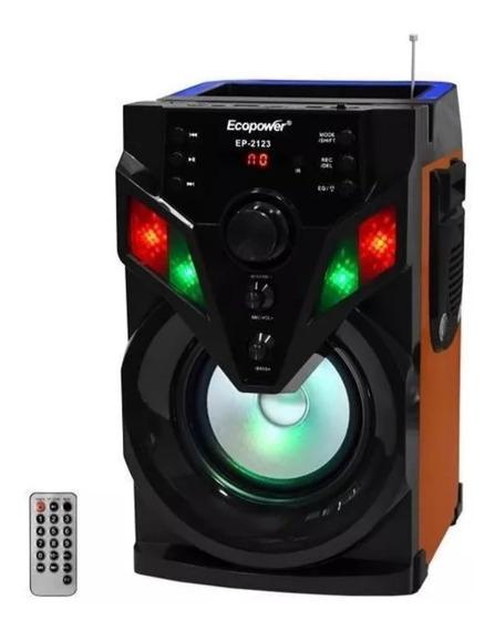 Caixa De Som Karaoke Ecopower 20w Com Microfone De Brinde
