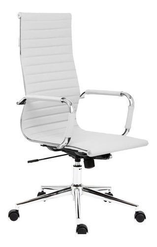 Silla de escritorio Koa OFI210 ergonómica  blanca con tapizado de cuero sintético