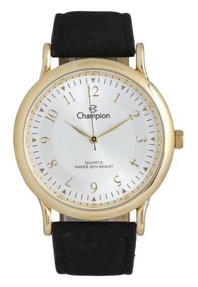 Relógio Masculino Dourado Couro Champion Ch22813b
