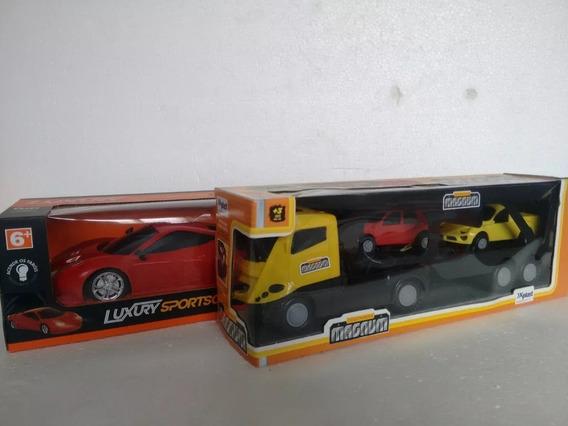 Kit 1 Carro Luxury Controle Remoto + 1 Caminhão Cegonheira