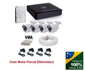Kit Segurança Dvr 4 Canais Hd + 4 Câmera Hd 720p