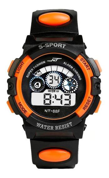 Relógio Digital Infantil Led Esportivo Nt Laranja + Brinde