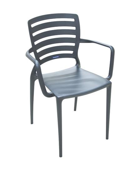 Cadeira Com Bracos Sofia Vazada Hz Grafite