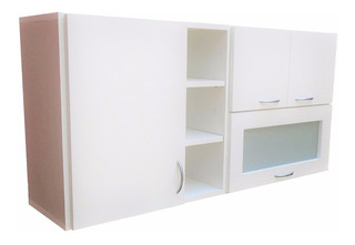 Alacena Puerta Vidriada 1,20x60x30 Con Estantes- Cocina.
