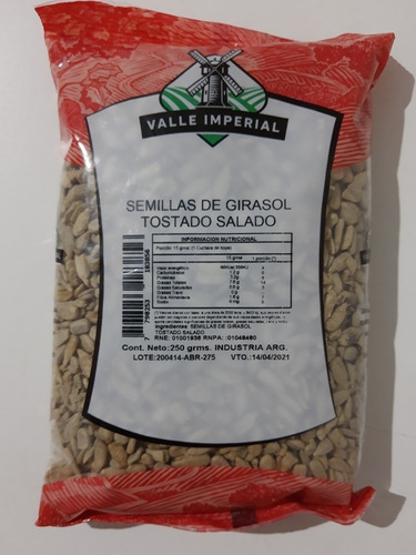 Semillas De Girasol Tostado Salado 250gr Valle Imperial