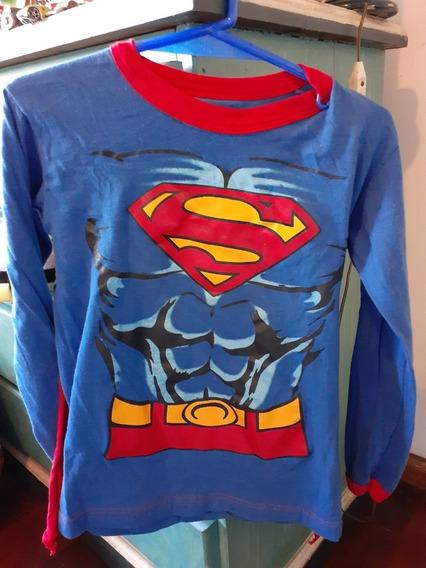 Disfraz Remera Con Capa Superheroe Superman