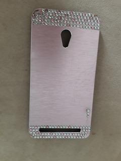 Linda Capinha Luxo Case Celular Zenfone Rosa Metal Escovado