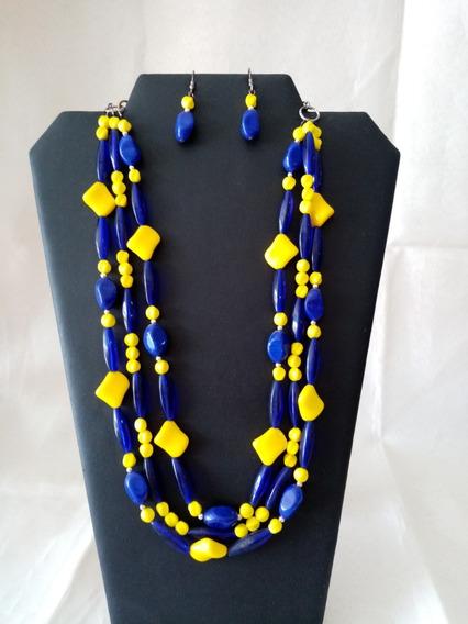 Collar De Auténtico Cristal Checo Zava Beads Azul Y Amarillo