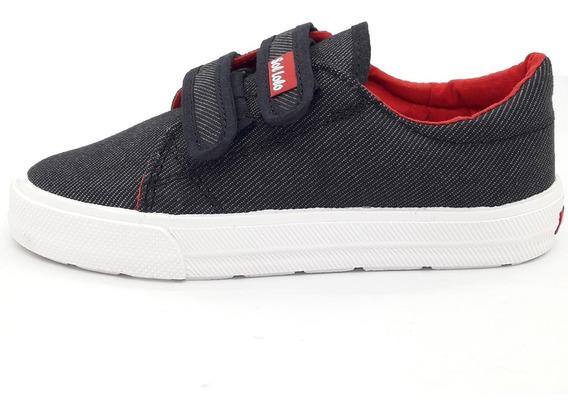 Zapatillas Niños Jean Negro Doble Velcro Del 27 Al 33