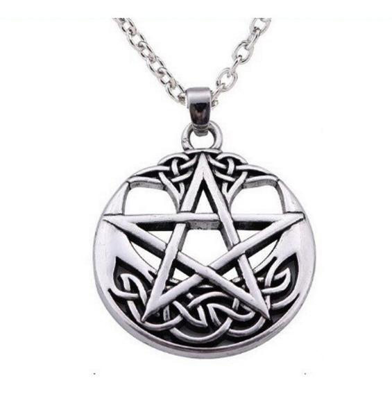Colar Pentagrama Wicca - Folheada