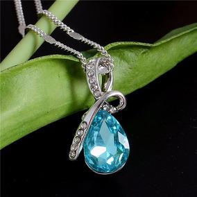 Colar Corrente Austríaco - Gota De Cristal Azul