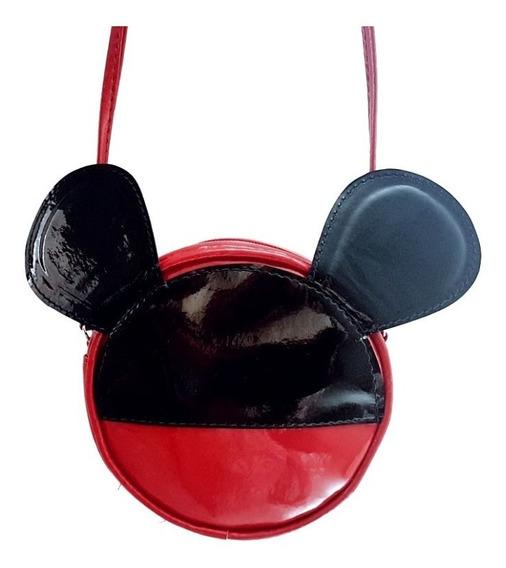 Bolsinha Bolsa Infantil Mikey Minnie Mouse Couro Sint Disney
