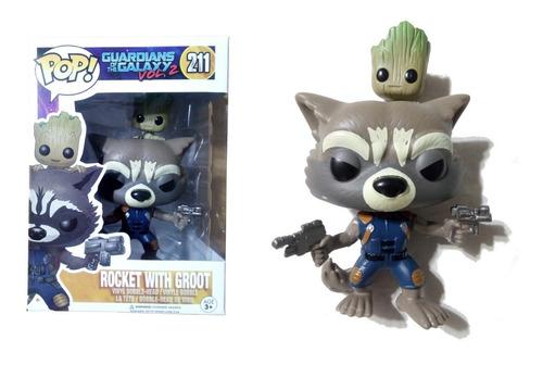 Muñeco Rocket / Groot Símil Funko Pop! #211 Articulado 9 Cm