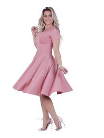 Vestido Boneca Midi Godê Princesa Rodado Moda Evangélica