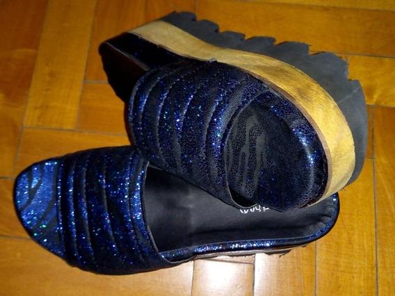 Sandalias Violetta Azulado Con Negro.