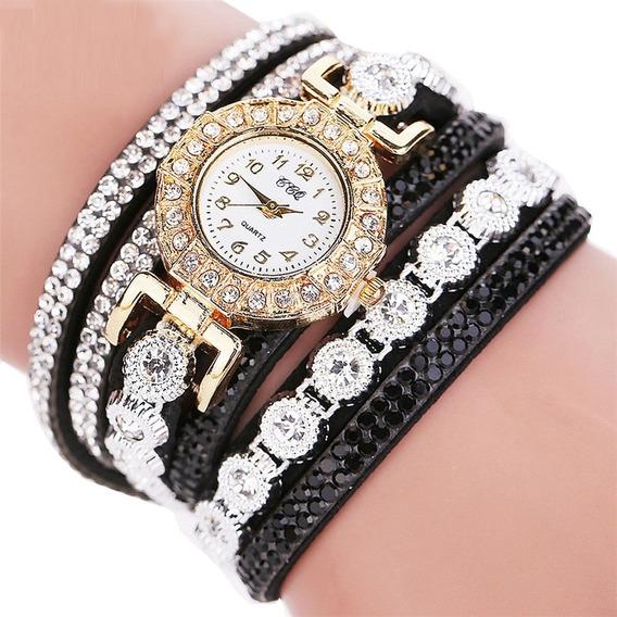 Relógio Bracelete Com Strass Ccq Feminino Elegante