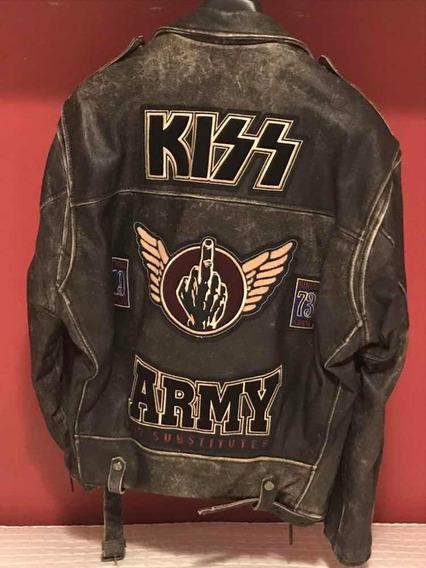 Jaqueta Kiss Army Oficial Couro Legitimo Rock Gene Camiseta