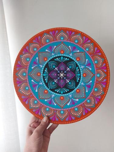 Mandala Cuadros Pintada A Mano Sobre Disco Vinil  30 Cm