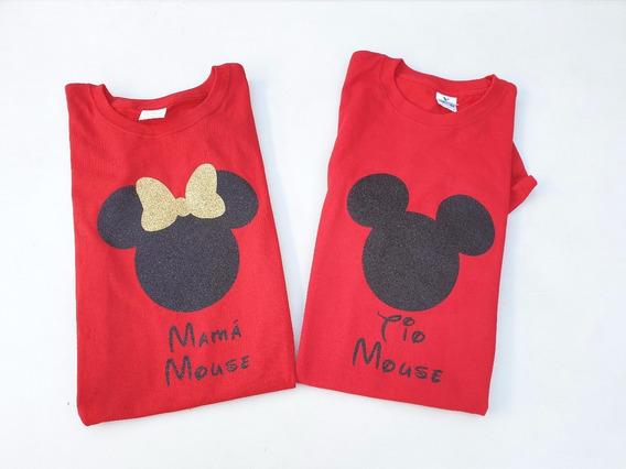 Duo De Playeras Para Papás Mickey Y Mimi Glitter Ch A Xl