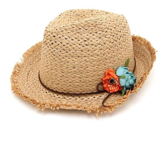 Sombrero Estilo Panama Florcitas Y Desflecado Playa Verano