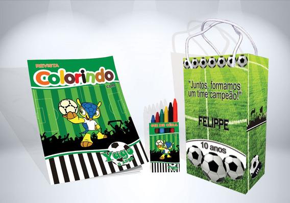 30 Kit De Colorir Futebol Revista Sacola Giz Lembrança