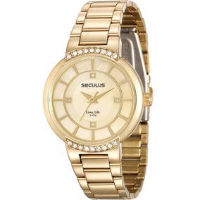 Relógio Seculus Feminino Life Dourado Strass 23590lpsvda1