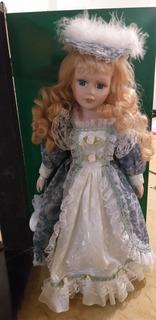 Adela- Ashley Belle Porcelain Doll In Wood Display Case