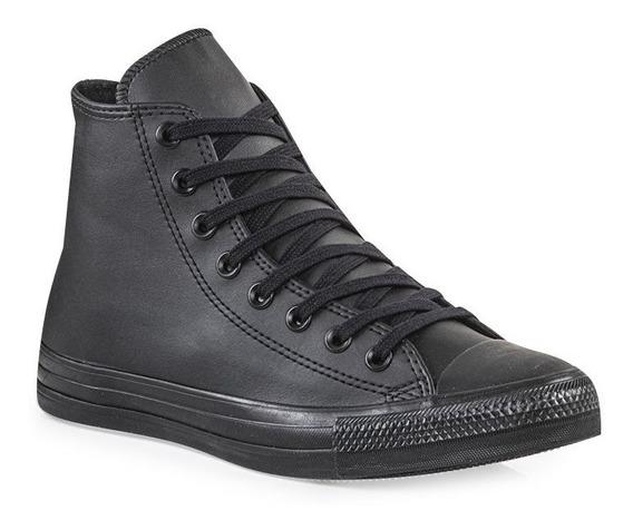zapatillas converse cuero negra