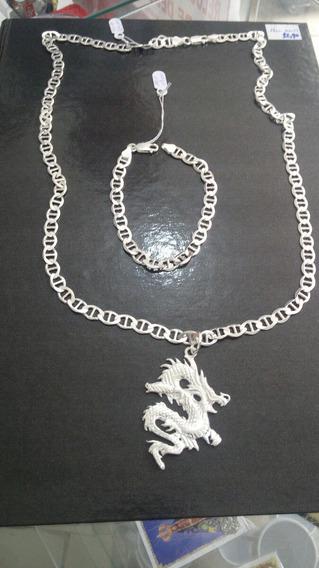 Cordão Com Pingente Dragão Mais Pulseira De Prata 925 Pura