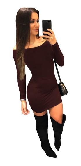 Vestido De Frio Ciganinha Curto Manga Longa Preto Lycra Moda