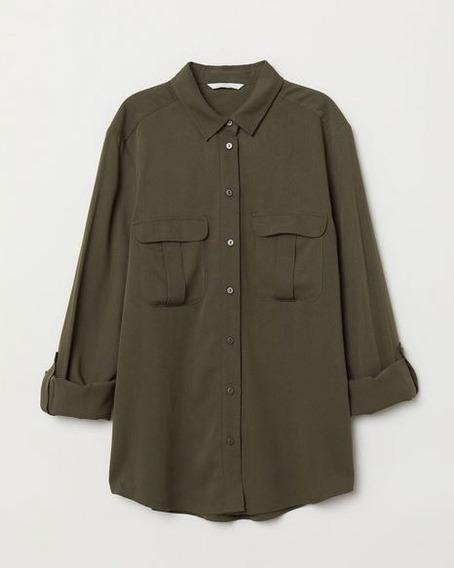 Camisa Clasica De Mujer Verde Militar Bachino