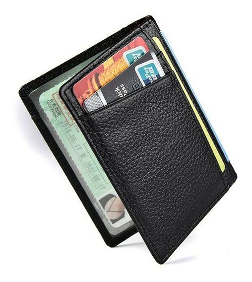 Carteira Cartão Dinheiro Cnh Couro + Brinde Pulseira