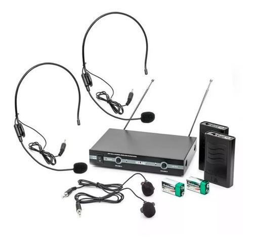 Imagem 1 de 7 de Kit Microfone Vhf Sem Fio Auricular Cabeça Headset Lapela