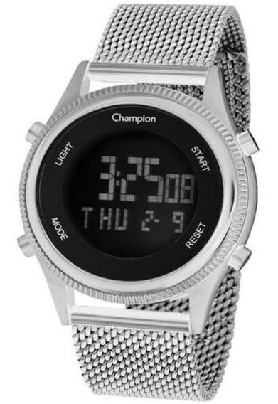 Relógio Feminino Champion Prata Digital Pulseira Telinha