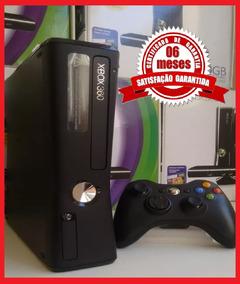 Xbox 360 Slim Na Caixa 4gb + Jogo Original + Garantia