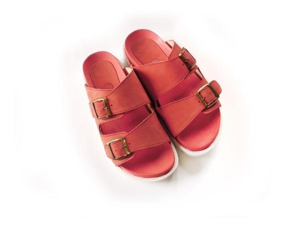 Sandalias Zapatos Suecos Mujer Tipo Birken En Cuero