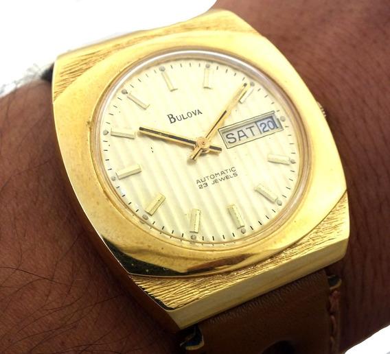 Bulova N4 Automatic 23 Jewels Calendario Date E Dia Da Semana Em Aço E Ouro 18k Relógio De Pulso J22043