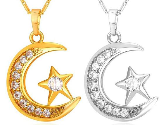 Colar Lua Crescente Muçulmano Banhado A Ouro Cúbico Zirconia