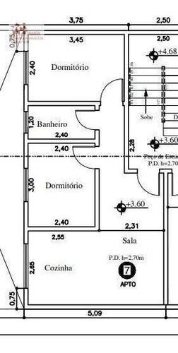 Imagem 1 de 1 de Apartamento Com 2 Dormitórios À Venda, 44 M² Por R$ 269.000,00 - Vila Humaitá - Santo André/sp - Ap2606