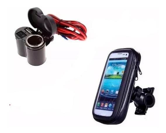 Kit Toma 12v Usb + Porta Celular Gps Moto Viaje Ruta En Fas!
