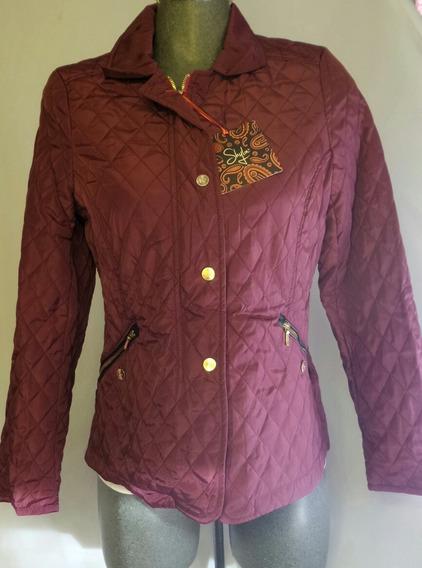 Jacket Acolchada Ligera Aplique Fake Fur Color Bugambilia